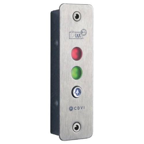 Semaforo in acciaio INOX da applicare con 2 LED e pulsante