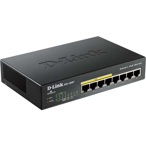 Ethernet Switch D-Link DGS-1008P 8 Porte - 8 x Gigabit Ethernet Rete - Coppia incrociata - 2 Layer Supported - Desktop