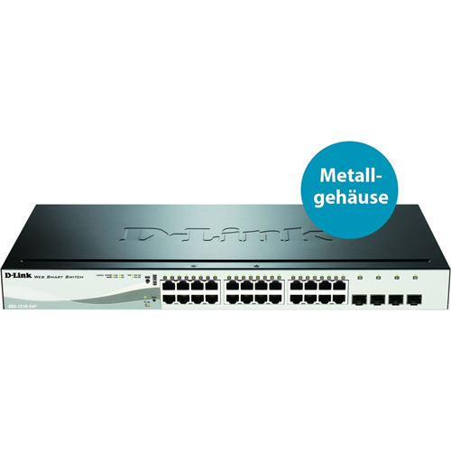 Ethernet Switch D-Link DGS-1210-24P 24 Porte Gestibile - 24 Rete, 4 Slot Espansione - Coppia incrociata - 2 Layer Supported - 1U Alto - Rack-Montabile
