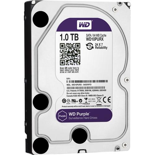 """Disco rigido WD Purple WD10PURX 1 TB - SATA (SATA/600) - 3.5"""" Unità - Interno - 64 MB Buffer - Bulk"""