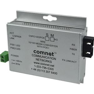 Convertitore file multimediali/ricevitore ComNet CNFE1003POEM/M - 3 Porta(e)Rete (RJ-45) - 1 x PoE+ (RJ-45) Ports - 2 x SC - Fibra ottica, Coppia incrociata - Multi-modalità Fiber - Fast ethernet - 10/100Base-TX, 100Base-FX - Montabile su guida