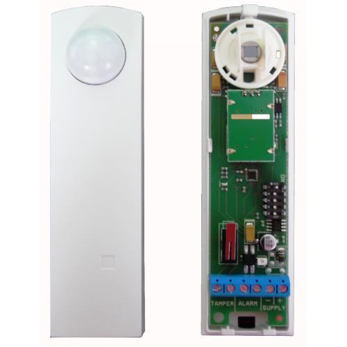 Sensore dual tech effetto tenda per porte e finestre, con allarme direzionale - colore bianco