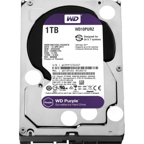 "Disco rigido WD Purple WD10PURZ 1 TB 3.5"" Interno - SATA - 5400giri/min - 64 MB Buffer"